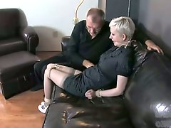 Old perve ties up and fells up busty short haired blonde