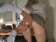 Pierced blonde gets fisted and analized