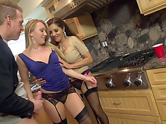 Classy babes seduce a couple of guys for a group sex party