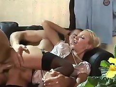Babe in satin blouse fucked by a cop