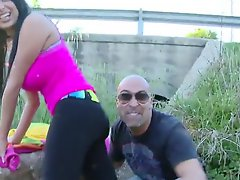 Kinky French beauty Anissa Kate giving head in public