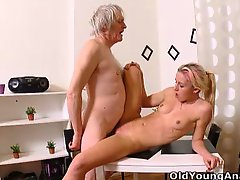 Nelya gets her breasts licked and sucked by her older man and enjoys his touch
