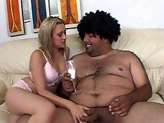 Gwen Diamond suck the small cock of fat fellow