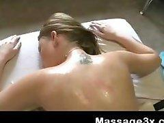 Busty blonde oiled and fucked by therapist