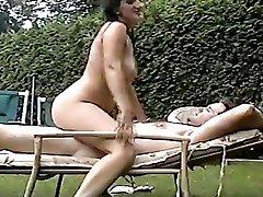 Hot Mature Wife Fucks husband in Backyard