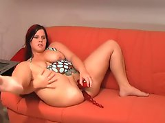 Toy in BBW ass as she masturbates