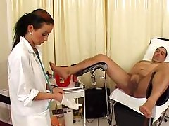 German doctor shaves her patient-s cock and fucks his ass