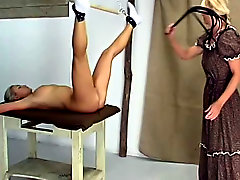 Naughty girl caned on the farm