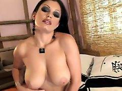 Large juggs Aria Giovanni getting moist and hawt on her bed