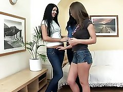 Superb brunette lesbians kissing and licking nipples in a three way lesbian orgy