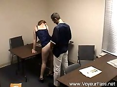 Slutty red haired secretary gets doggy fucked by her colleague in the office