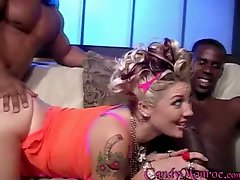 Cuckold Queen Candy Monroe gets 2 fat black dicks
