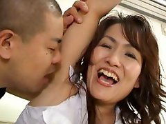 Sexy Japanese babe laughs it up as her armpit gets licked