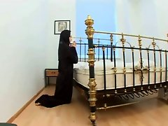 Nun having hard sex on the bed after prayers-m1991a1-