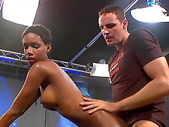 Slender African babe fuck with German dicks