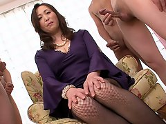 Horny dudes jerk off watching Miyama Ranko masturbating