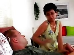 Sexy Short-haired Brunette Granny Fucked Doggy-style