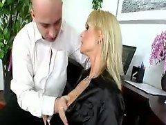 Czech blonde whore fucked over the table