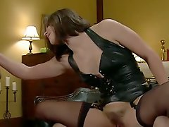 Mistress Bobbi Starr locks her cuckold slave in chastity while hes...