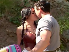 Bosomy brunette Olivia OLovely gets fucked by Peter North near a pool
