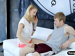 Tight blonde teen girl Linda S pussy pounded