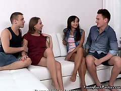 Sexy Teen Girls Janna And Sara In A Foursome