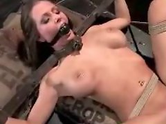 Busty Girl Tied Legs And Arms Getting Her Pussy Fucked Cum To Belly On A Bale In The Dungeon