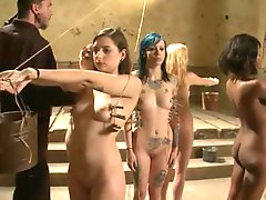 Four Wondrous xxx Slaves have bound Up And Humiliated
