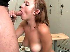 Oral sex in the locker room gets her a load to swallow