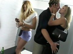 Two blonde tranny hookers fucking in public wc
