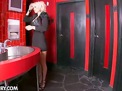 Nasty blonde babe releases waiters cock tension