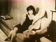 Two separate scenes from a vintage clip, an orgy and a couples suck and fuck