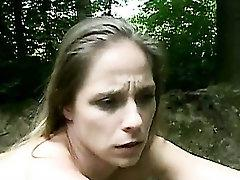 Claudie tied-up in the forest and fucked