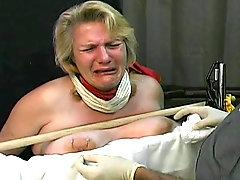 Fat girl cries during tit torture