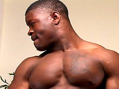 Black hung muscle stud jerks off