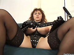 Kinky broad with gloves gets her cunt and ass stuffed deep and hard