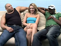 Attractive slender blonde housewife has two black guys pounding her fiery pussy deep