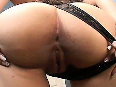 Sexy Latina with a big booty has a huge black cock stretching her cunt