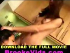 Brooke Skye and Raven Riley lesbian feminine acts at the kitchen counter