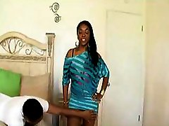 Busty ebony sucks his cock deep and gets it in her wet pussy
