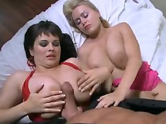 POV titjob and handjob with curvy babes