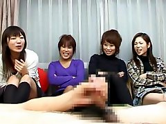 Japanese women watch him jack off and decide to try it too
