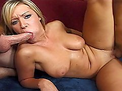 Stacked Blond Harlot Juices Off Two Guys