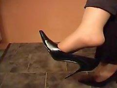 Foot Worship Tan nylons