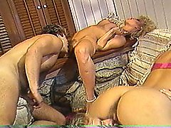 Horny Retro Foursome And Cum Swallowing