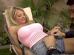 Vicky Vette fucks Julian after he gives her a massage and gets a facial cumshot