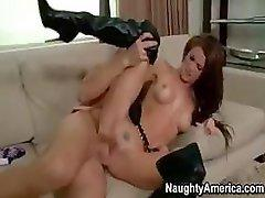 Hot Jenni Lee does some hot sucking and fucking on her couch
