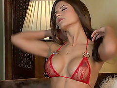 Solo Danni Gee in sheer red lingerie