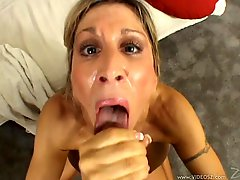 Kinky blonde cougar with massive tits licking and sucking a strangers big cock