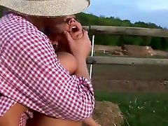Blonde Mother loves Anal dicking open-air in the Farm